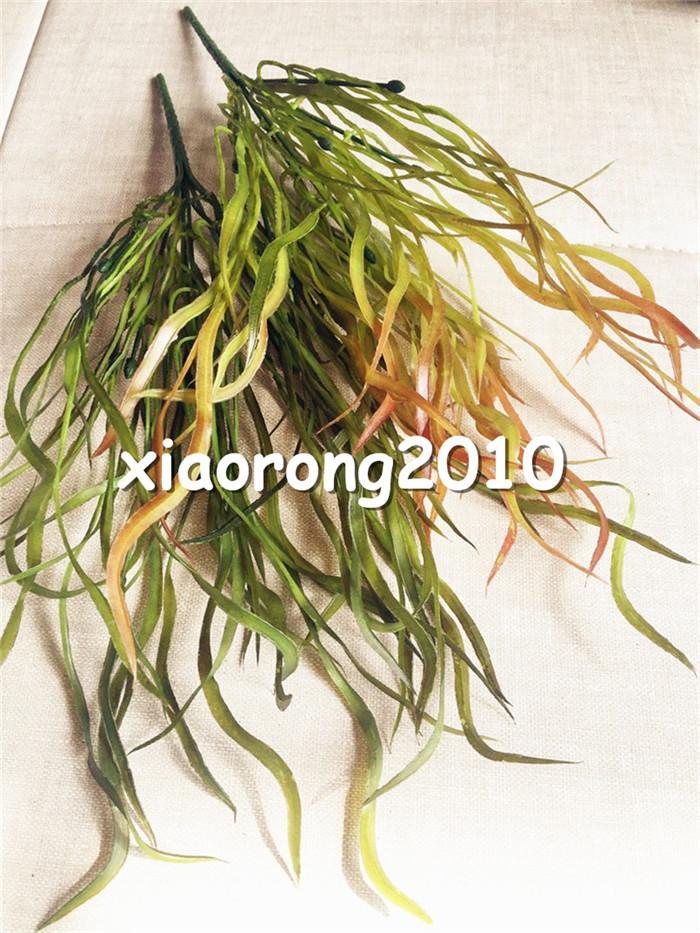 Plastik Yeşillik Demet 6 sapları / parça 38 cm Yapay Hasır Düz Çim Yeşil Bitki Düğün Noel Ev Dekor için
