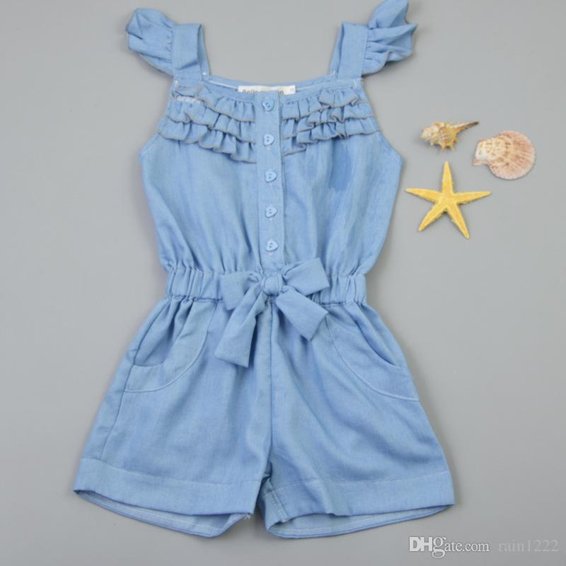 Girl Children Jeans Overalls Rompers Onesies For Baby Toddler Kids Summer Sleeveless Denim Overalls Jumpsuits Bow Ruffles Jumpers Rompers