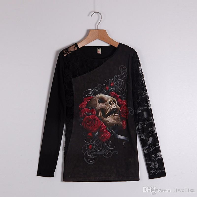 Women T-Shirt Sexy Skull Print Long Sleeves Lace Patchwork Sexy Tee Tops Pullovers Women Clothing