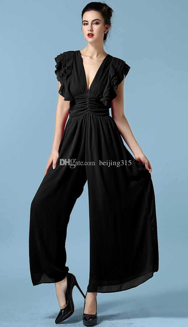 New Fashion Women Ladies Sexy V Neck Ruffle Sleeves Jumpsuit Rompers Plus Size Wide-Leg Trousers Loose Pants Playsuits
