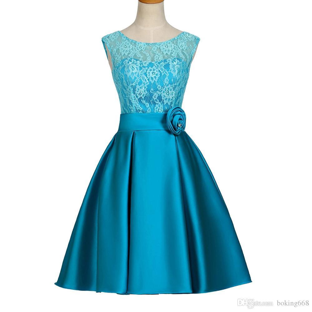 Großhandel Spitze Robe De Cocktailkleider 2016 Blau Grün Party Kleid ...