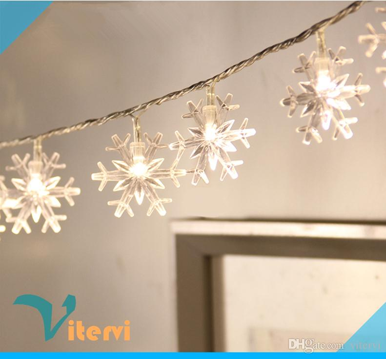 Snowflake 10M LED String Light 1.5V AA Battery Christmas Twinkle Outdoor Waterproof IP65 RGB Color Lamp Led Globe Lights