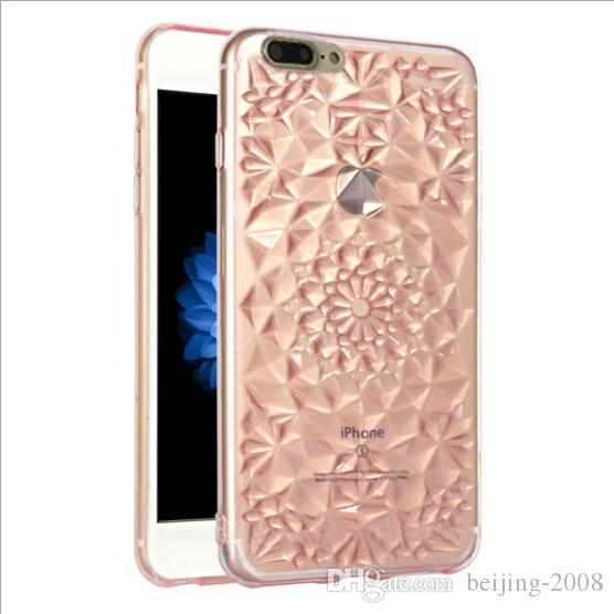 For iPhone xs 8Plus Clear Transparent Skin creative relief TPU for iphone 7 case TPU sunflower Case with opp package