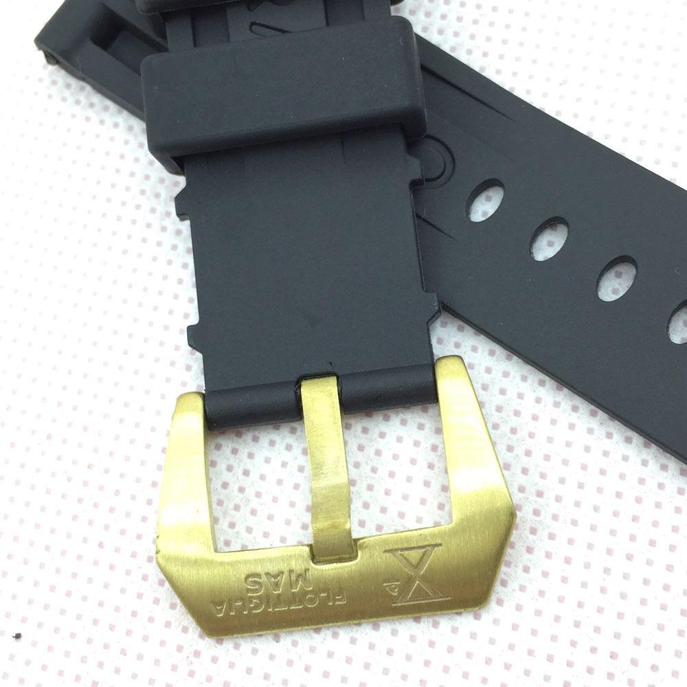 24mm 115mm/75mm Black Silicone Rubber Water proof Screw-In PRE-V Brass Buckle Band Strap For PAM Watch