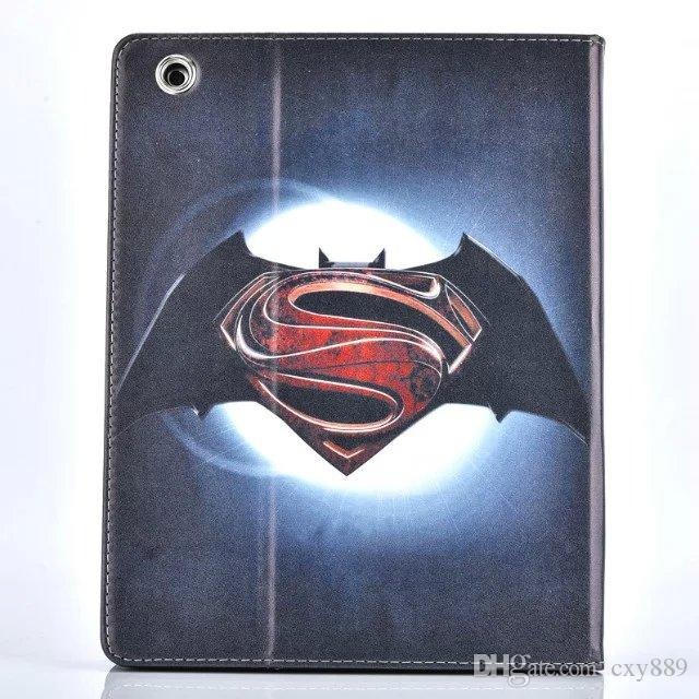 25pcs/lot Cool batman super man fold stand leather cover skin for Apple ipad 5 air 6 air2 mini 234 leather case