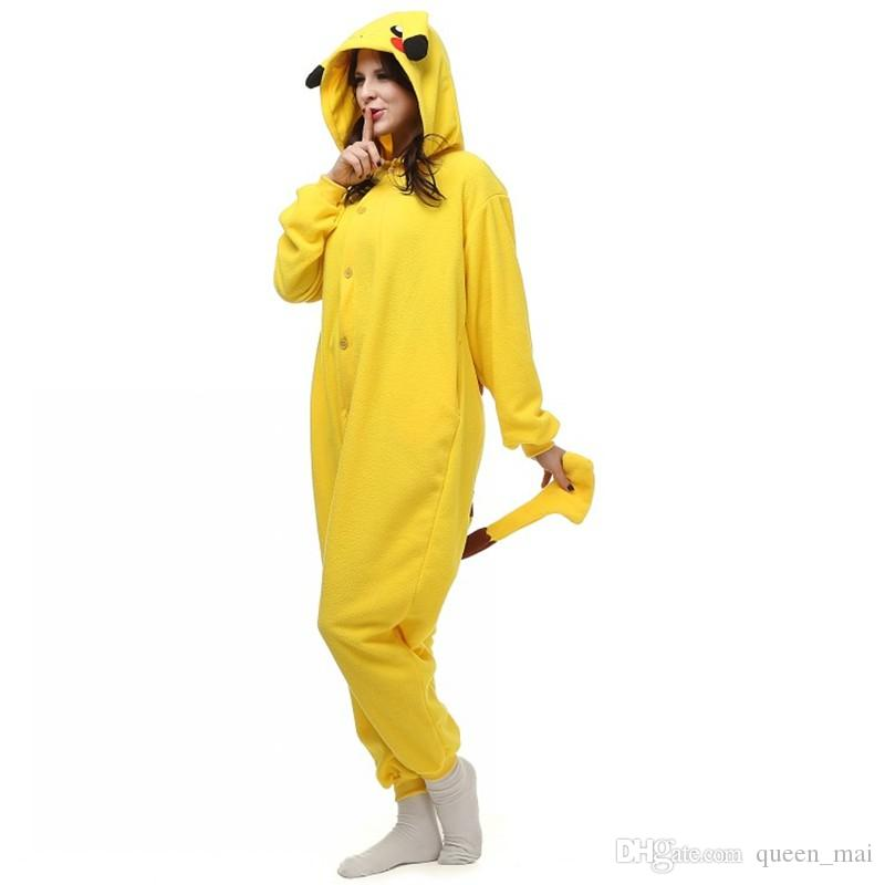 Anime Pajamas Adult Monster Pika Chu Mouse Onesie Fantasias Costume Cartoon Pika Chu Halloween Cosplay Costumes for Women and Men Jumpsuit