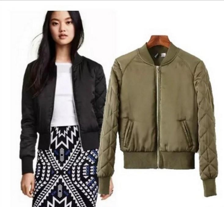 Wholesale Women Basic Coats Quilting Cotton Bomber Jacket Women