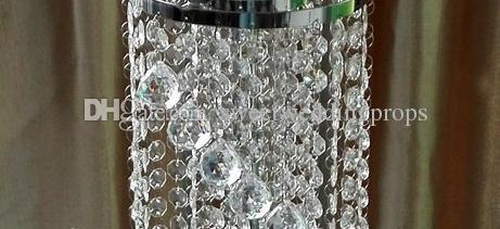 Temizle akrilik silindir şamdan / uzun kristal silindir vazolar toptan için düğün / masa