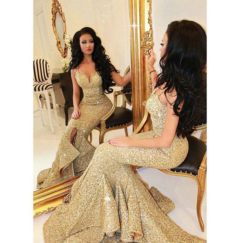 2016 vestidos de fiesta con lentejuelas de oro Imágenes reales Vestidos de noche largos de sirena largos Vestidos de noche con abertura en la parte delantera Volantes de gala