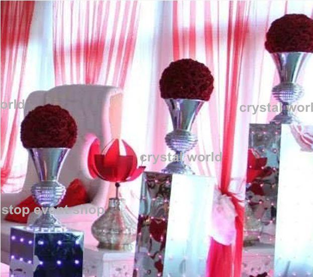 Wholesale Clear Reversible Trumpet Mental Vase Candles Flower