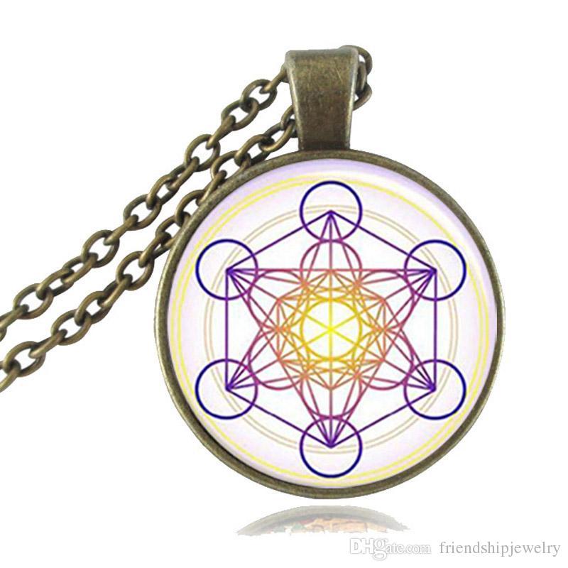Lila Metatron Cube Anhänger Halskette Heilige Geometrie Schmuck Glas Cabochon Magic Hexagram Geometrische Halskette Blume des Lebens Schmuck Geschenk