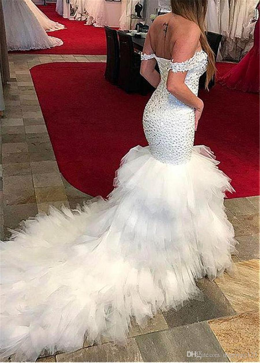 Beautiful Ruffled Tulle & Organza Off -the-shoulder Neckline Mermaid Formal Dresses With Beaedings & Ruffles Skirt Crystals Prom Dress