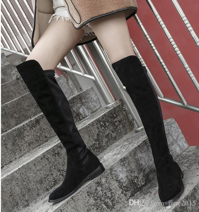 2017 Winter boots Boutique Top Quality Luxury fashion Brand Matte Suede Genuine Leather Knees Sexy Stitching Soft Women Boots Plus Size