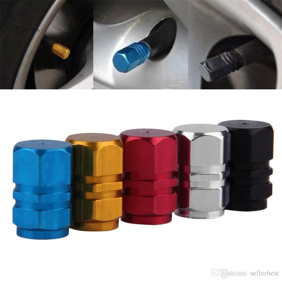 Colorful Theftproof Aluminum Metal Car Wheel Tire Valves Tyre Stem Air Caps Airtight Cover for Car Moto Bike Bicyle Universal