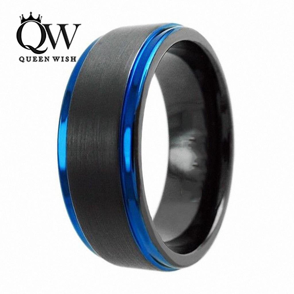 Queenwish Promise Rings 8mm Tungsten Carbide Ring Black Brushed Blue Stripe Infinity Wedding Band Eternity Men's Jewelry for couples