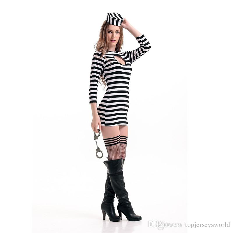 Striped Prison Uniform Adult Women Sexy Long Sleeves Dress With Hat For Carnival Cosplay Party Costume Kids Group Halloween Costumes Group Halloween ...  sc 1 st  DHgate.com & Striped Prison Uniform Adult Women Sexy Long Sleeves Dress With Hat ...
