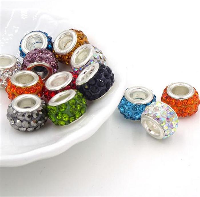 Nouveau multicolore nouvelle résine strass perle plaqué argent noyau en cristal lâche collier perles Fit braceles perles 2525