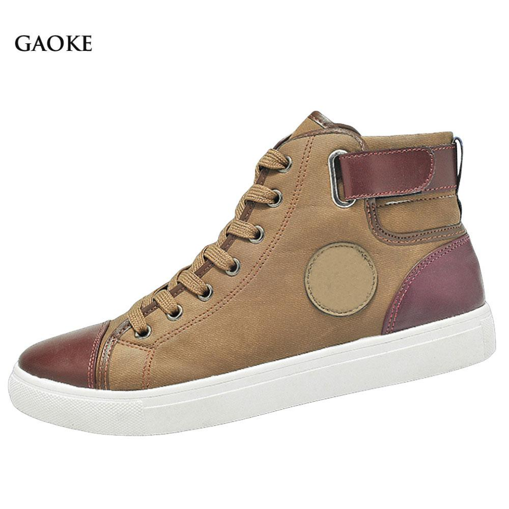 sapatos Tenis Masculino Male Autumn Winter Front Lace-Up Leather Ankle Boots Shoes Man Casual High Top Canvas Men