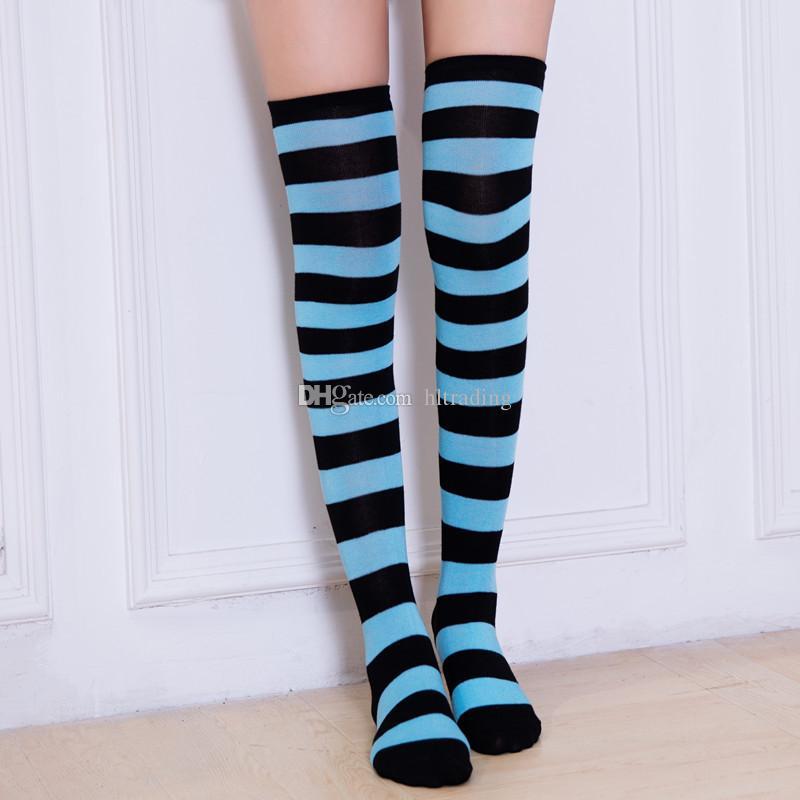 Genou rayé Chaussettes pour les grandes filles adultes Style Japonais Zèbre Cuissardes Chaussettes Printemps Bas 21 couleurs pour Noël Halloween C2667