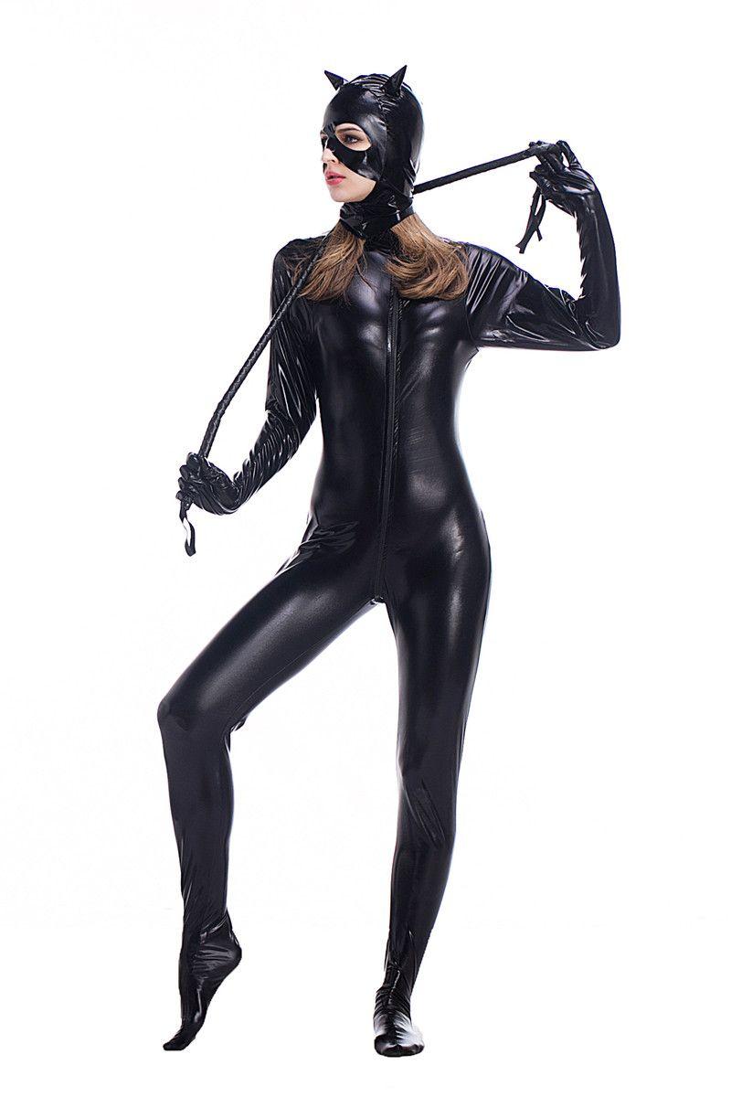 Venda quente Sexy Traje De Couro Falso Preto Sexy Catwoman Latex Catsuit Erótico Gato Traje Cosplay Masquerade Desgaste Do Diabo Terno PS012