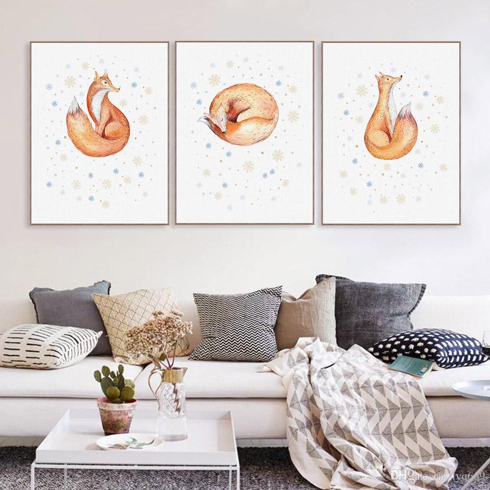 Aquarell Kawaii Schnee Tier Fuchs Poster Nordic Wohnzimmer Wand Kunstdruck Bild Weihnachten Home Decor Leinwand Malerei Kein Rahmen