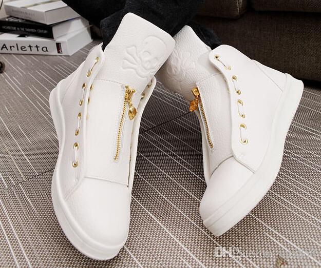 Quality Men Leather Shoes 2016 Winter High Top Skull Gold Zipper Design Men  Shoes Hip Hop Skeleton Mens Joggers Zapatillas Homme 24121f9c3