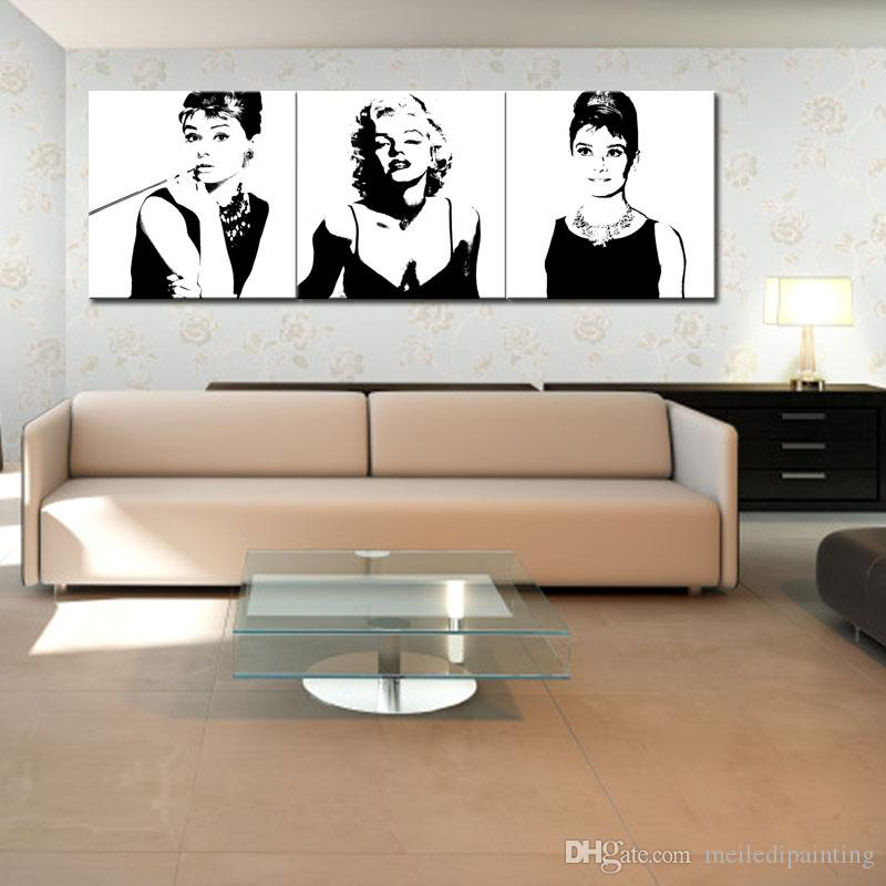 Best Canvas Painting Marilyn Monroe And Audrey Hepburn Painting With ...