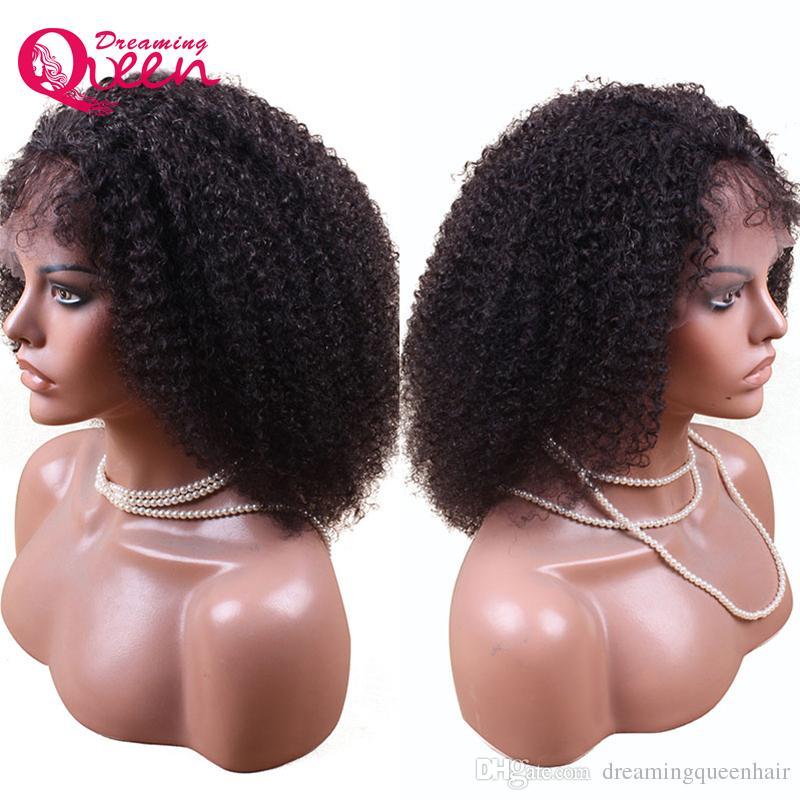 Moğol Afro Kinky Kıvırcık Peruk Dantel Ön Virgin İnsan Saç Peruk Siyah Kadınlar için Bebek Saç Ile Doğal çizgi Rüya Kraliçe Bakire Saç