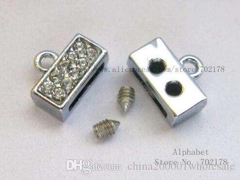 50ピースシルバーカラープレーンクリスタル亜鉛合金エンドクラスプコネクタ8mmスライドチャームDIYアクセサリーフィット8mmペットカラーリストバンドキーチェーン