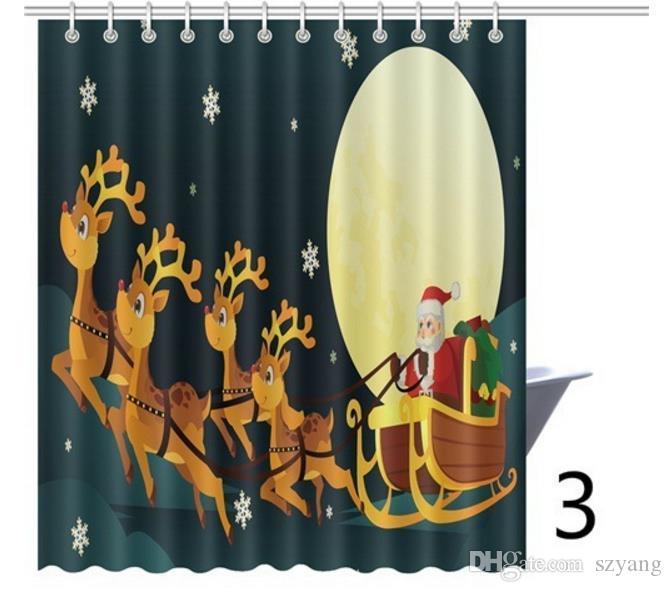 Weihnachten Duschvorhang 20 Arten 150 * 180 CM Wasserdicht 3D Gedruckt Badezimmer Duschvorhang Santa Decor für Zuhause Neujahr Haken