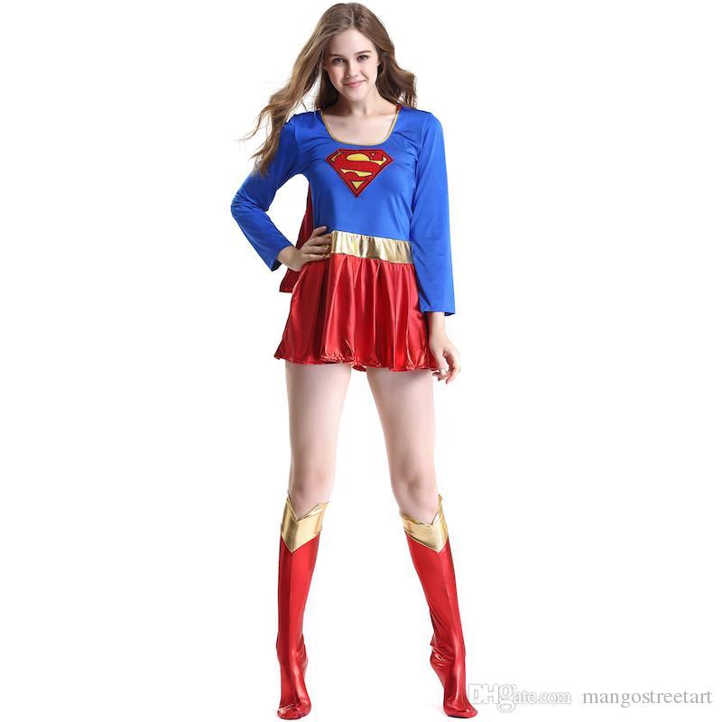Compre Traje De Superhéroe Sexy Mujer Adulta Superwoman Clothing Uniformes Sexy  Disfraces De Halloween Navidad Maquillaje Cosplay Party Dress A  16.25 Del  ... 844afb71d0ad