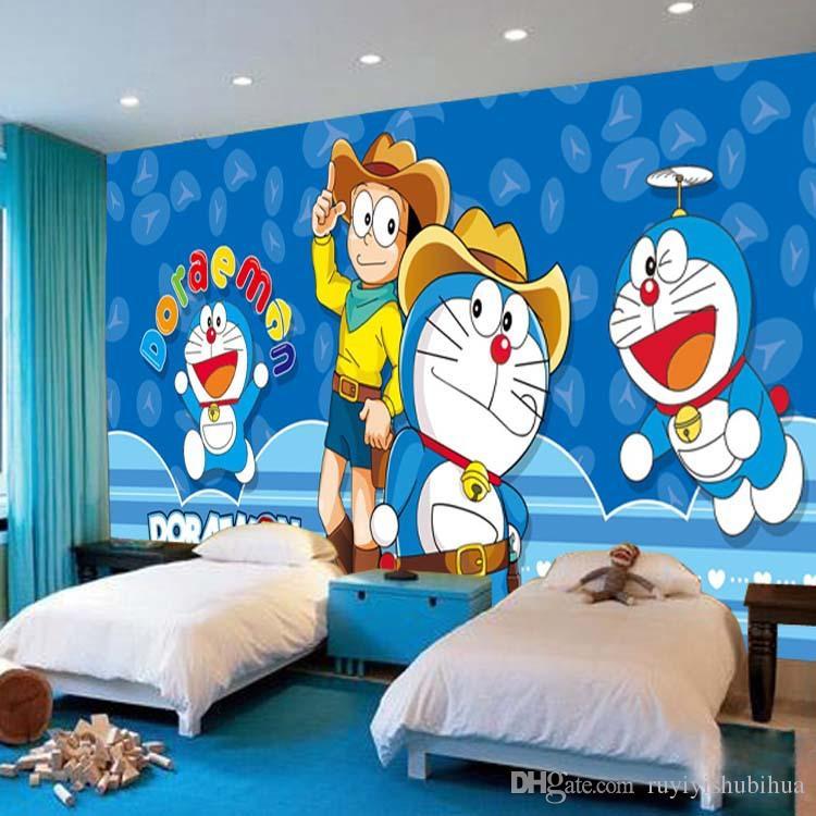 Großhandel Japanische Anime Tapete Doraemon Wandbild Cartoon Fototapete  Seide Große Wand Kunst Zimmer Dekor Decke Schlafzimmer Kinderzimmer Von ...