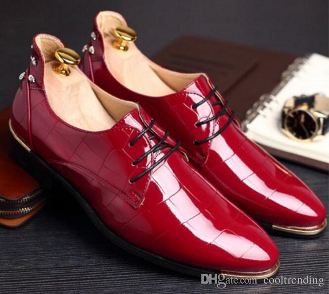 Italian Fashion Formal Mens Dress Shoes Genuine Leather Brown