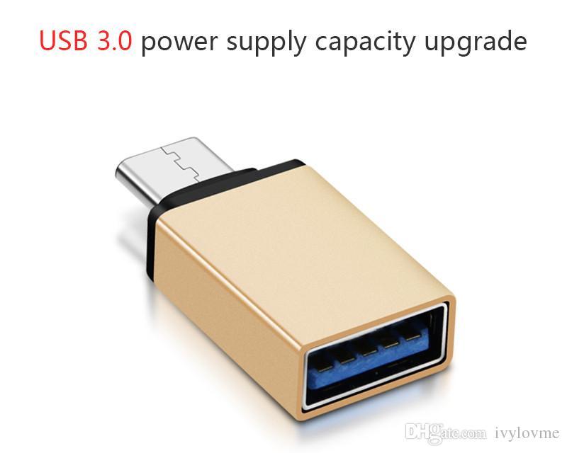 Metallo USB 3.1 Tipo C OTG Adattatore da USB a USB 3.0 A Adattatore convertitore USB Funzione OTG Macbook Google Chromebook