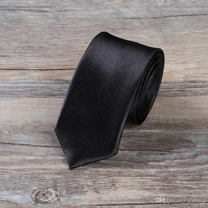 corbata sólida versión estrecho lazo de 5 * 145cm corbata de lazo de es ocupacional de los hombres de negocios para el lazo del día de padre de los hombres de la Navidad Gi