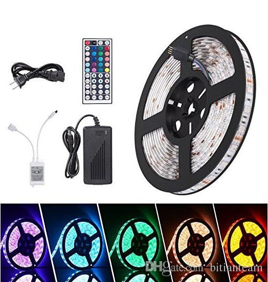 Waterproof Strips IP65 5M 300 Leds 5050 RGB Led Strips 60 leds + Remote controller +12V 5A power supply EU/US/AU/UK Plug