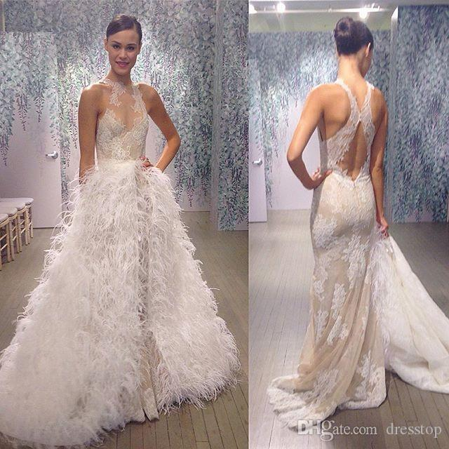 2016 Lace Wedding Dresses With Feather Overskirt Mermaid Sheer Jewel ...