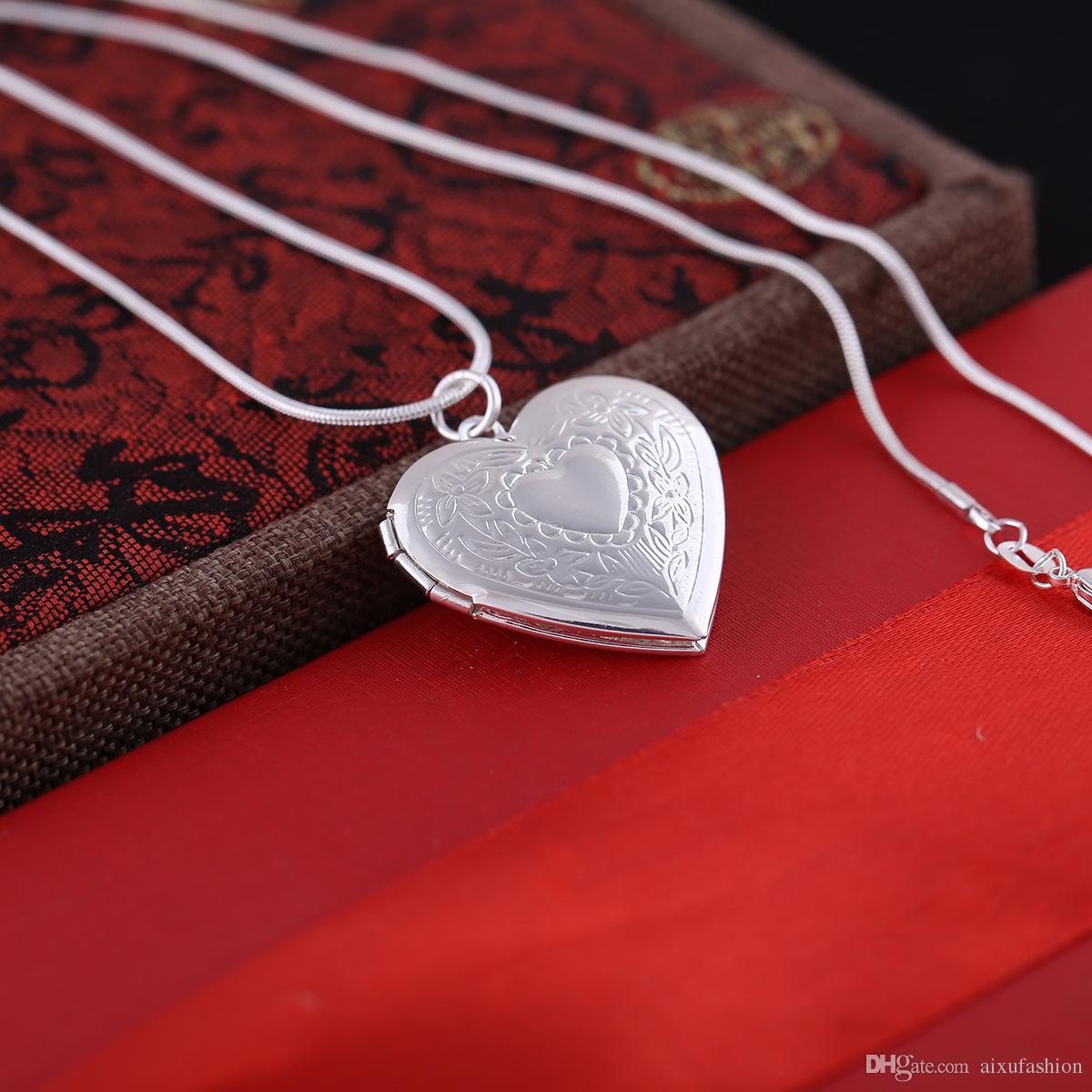 Versilbert 925 Medaillons Anhänger Halsketten Herz Geschnitzte Charme Bilderrahmen Kann Medaillon Halskette Valentinstag Geschenk Für Frauen Mädchen öffnen