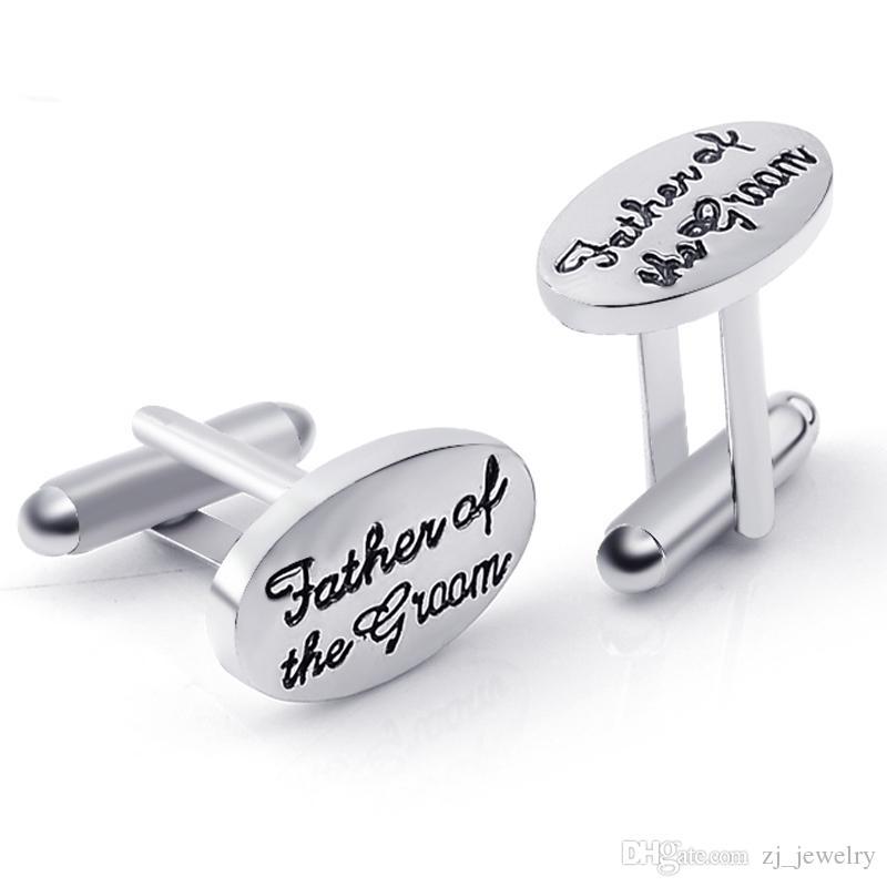 Babalar Düğün Hediye Smokin Şık Kol Düğmeleri Gümüş Kaplama Oval Handstamped Damat / Gelin Fransız Gömlek Kol Düğmeleri