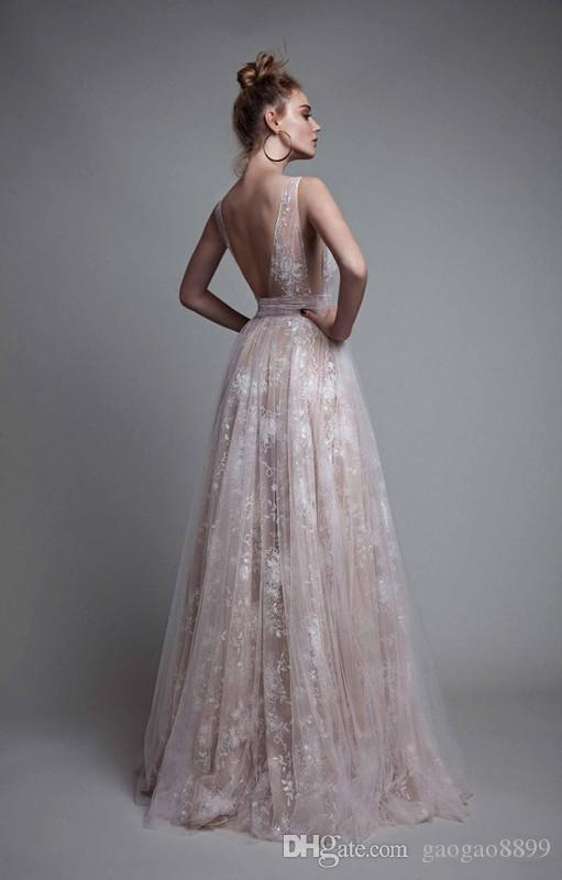 Berta 2019 Sexy sparkly Prom Dresses Deep V Neck Backless Lace Applique Dress Evening Wear Sleeveless Tulle Long Pageant Gowns