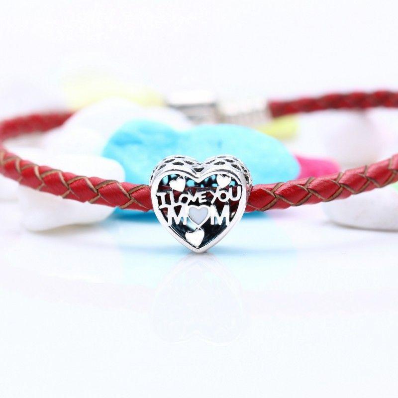 Presente de Dia das Mães Amor para Madre Charms Beads Autêntico 925 Esterlina Prata Jóias Coração Grânulos Para Mulheres Europeias Presente DIY Marca Braceletes