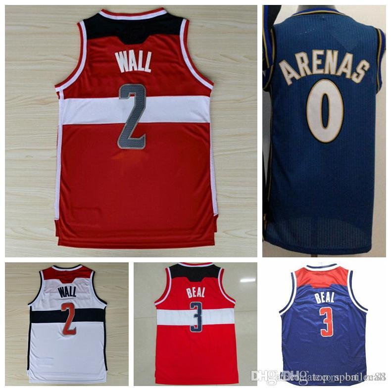 buy popular 6631d 8c85b New Fashion 0 Gilbert Arenas Throwback Jerseys Uniforms 2 John Wall 42 Nene  Hilario Shirt 3 Bradley Beal 4 Marcin Gortat Red White Blue