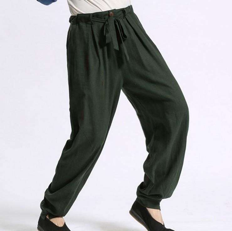 9e800e6b3bf Wholesale-Plus Size Comfortable Pure Linen Men s Casual Pants High ...