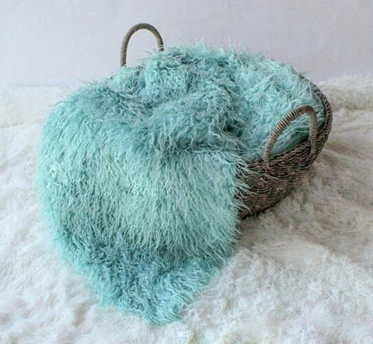 150cm*1m Newborn Photography Props Blankets,Soft Plush Baby Blanket Basket Stuffer,Faux Fur Fotografia Background