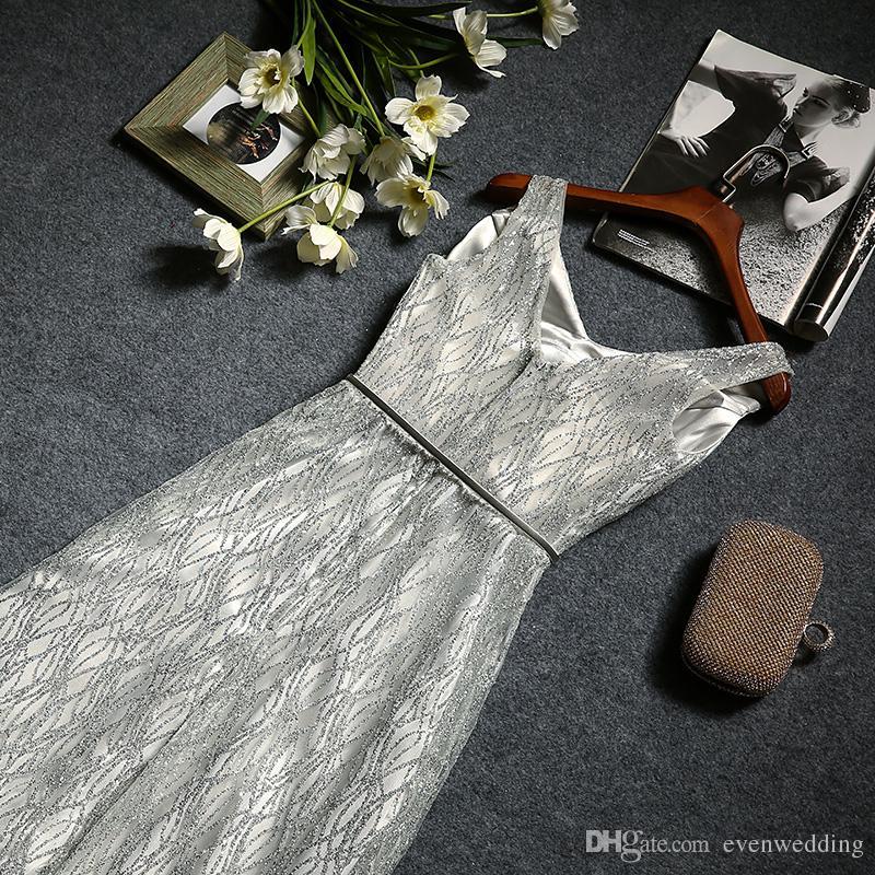레이스 스팽글 라인 브이 넥 롱 이브닝 드레스 그레이 2016 우아한 정장 이브닝 가운 자수와
