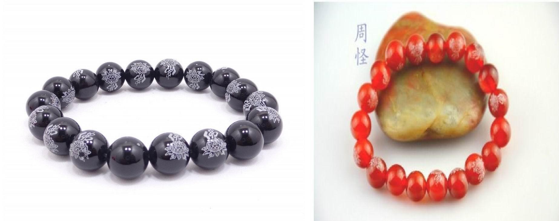 중국 불상 단어 Onyx agate 보석 10mm / 18 구슬 불교기도 팔찌 말라