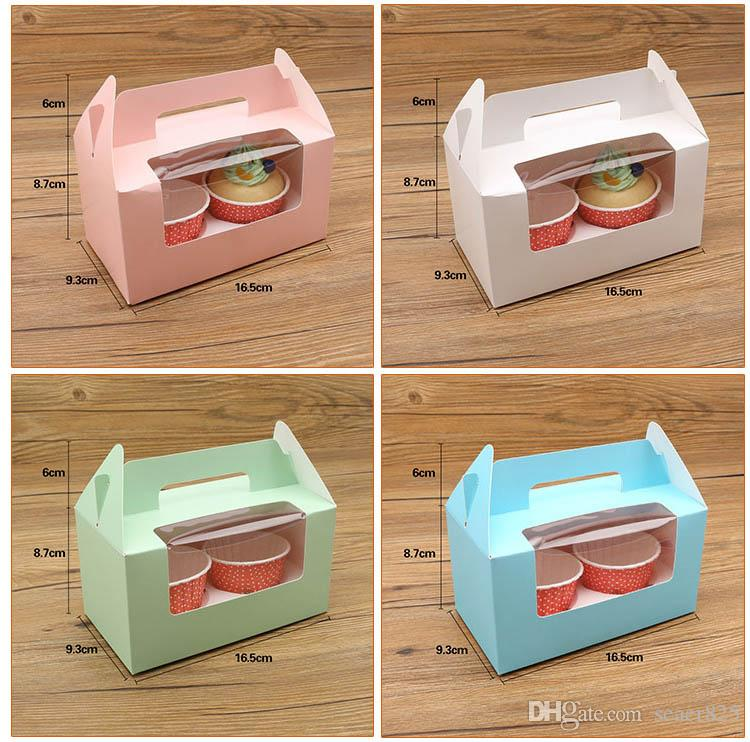 14.7x16.5x9.3cm London circus cupcake boxes with window kraft paper box handle Boxes Dessert Portable Package 2 Cup Cake Holders