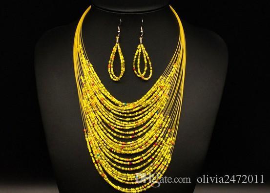 Mais recente Moda Conjuntos de Jóias Vintage Coringa Boêmio Multicamadas Colorido África Beads Declaração Colar Brincos Conjunto KX