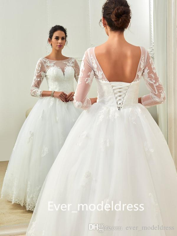 Full Lace Ball Gown Wedding Dresses Illusion Long