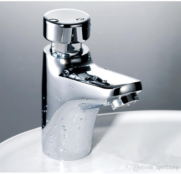 2019 High Quality Bathroom Self Closing Delay Tap Basin Sink Faucet Single Cold Mixer Solid